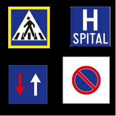 Indicatoare rutiere patrate